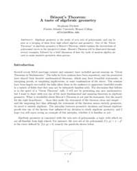 Bezouts Theorem a Taste of Algebraic Geo... by Fitchett, Stephanie