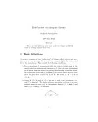 Brief Notes on Category Theory by Panangaden Prakash