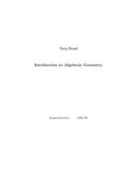 Yuriy Drozd Intriduction to Algebraic Ge... by Drozd, Yuriy