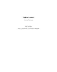 Algebraic Geometry ; Main Volume by Gathmann, Andreas
