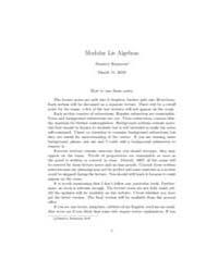 Modular Lie Algebras by Rumynin, Dmitriy