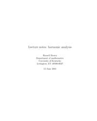 Lecture Notes Harmonic Analysis by Brown, Russell