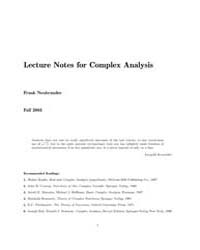 Lecture Notes for Complex Analysis by Neubrander, Frank