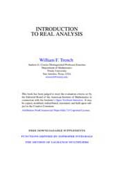 Introduction to Real Analysis ; Mathemat... by Trench, William F.