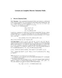 Lectures on Complete Discrete Valuation ... by Nottingham.Ac.Uk