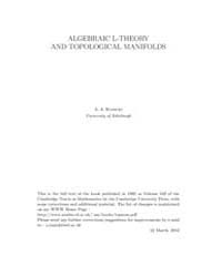Algebraic L Theory and Topological Manif... by Ranicki, A. A.
