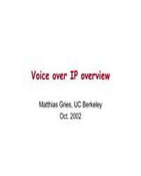 Voice Over Ip Overview by Gries, Matthias