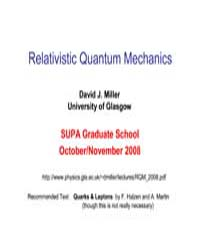 Relativistic Quantum Mechanics by Miller, David J.