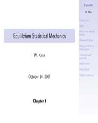 Equilibrium Statistical Mechanics 1 by Klein, W.