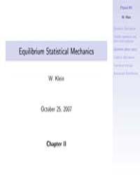 Equilibrium Statistical Mechanics 2 by Klein, W.