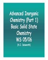 Advanced Inorganic Chemistry ; Lecture 1 by Deiseroth, H.J.