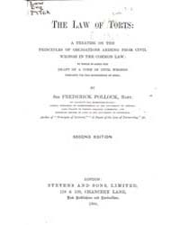 The Law of Torts, a Treatise on the Prin... by Pollock, Frederick