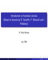 Introduction to Fractional Calculus, Par... by Mendes, R. Vilela