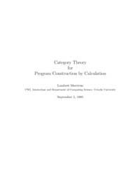Category Theory for Program Construction... by Meertens, Lambert