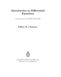 Introduction to Differential Equations by Chasnov Jeffrey R.