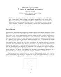 Bezouts Theorem a Taste of Algebraic Geo... by Fitchett, Stephanie