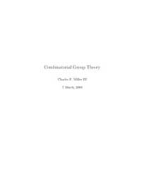 Combinatorial Group Theory Notes 2 by Miller Iii, Charles F.