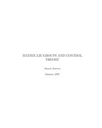 Matrix Lie Groups and Control Theory I by Lawson, Jimmie