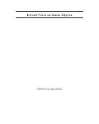 Lecture Notes on Linear Algebra by Gkioulekas, Eleftherios