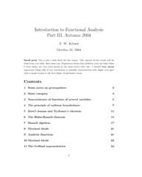 Introduction to Functional Analysis Part... by Käorner, T.W