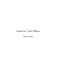 A Course on Number Theory by Cameron, Peter J.