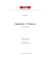 Algebraic K Theory ; Topology by Isely, Olivier
