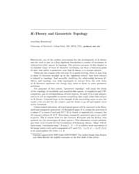 K-theory and Geometric Topology by Rosenberg, Jonathan