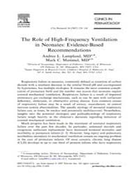 The Role of High Frequency Ventilation i... by Lampland, Andrea L.