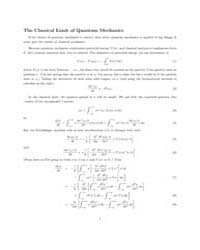The Classical Limit of Quantum Mechanics by Technical Books Center