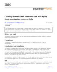 Creating Dynamic Web Sites with Php and ... by Technical Books Center