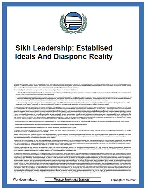 Sikh Leadership: Establised Ideals and D... by Singh