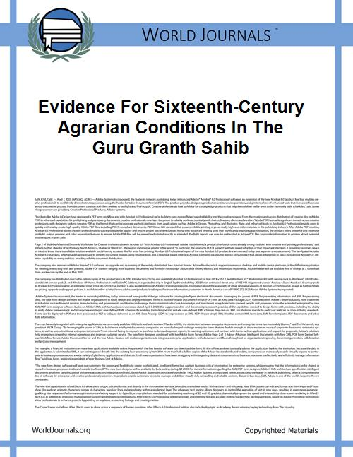 Evidence for Sixteenth-Century Agrarian ... by Irfan Habib