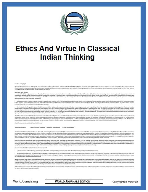 Ethics and Virtue in Classical Indian Th... by Bilimoria