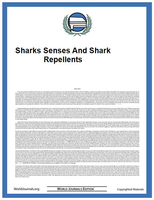 Sharks Senses and Shark Repellents by Hart