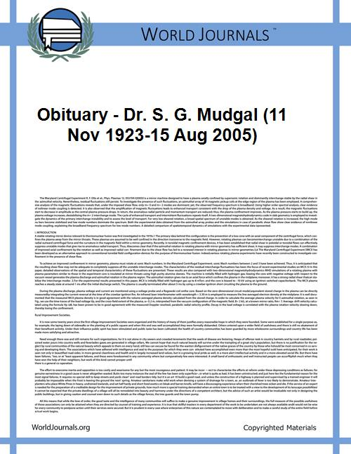 Obituary - Dr. S. G. Mudgal (11 Nov 1923... by Ajai R. Singh