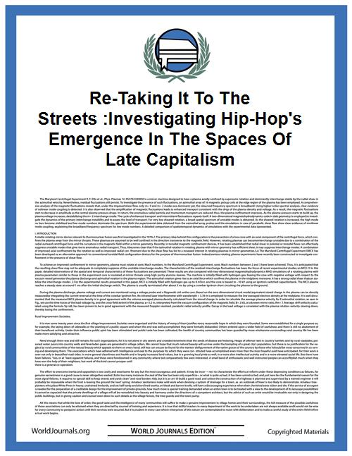 Re-Taking it to the Streets :Investigati... by Kosanovich