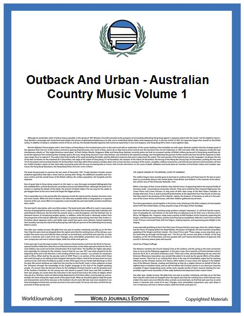 Outback and Urban - Australian Country M... by Hayward