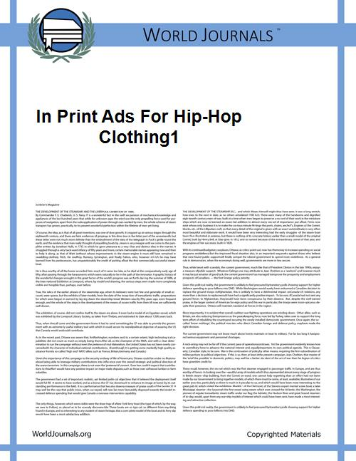 In Print Ads for Hip-Hop Clothing1 by Black Power