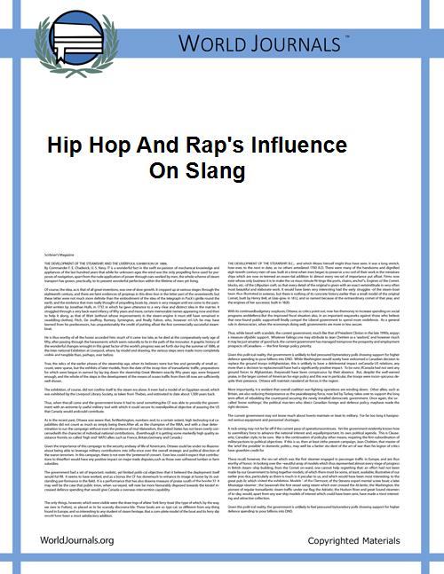 Hip Hop and Rap's Influence on Slang by Ross