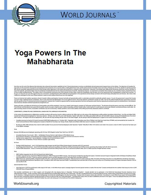 Yoga Powers in the Mahabharata by Malinar