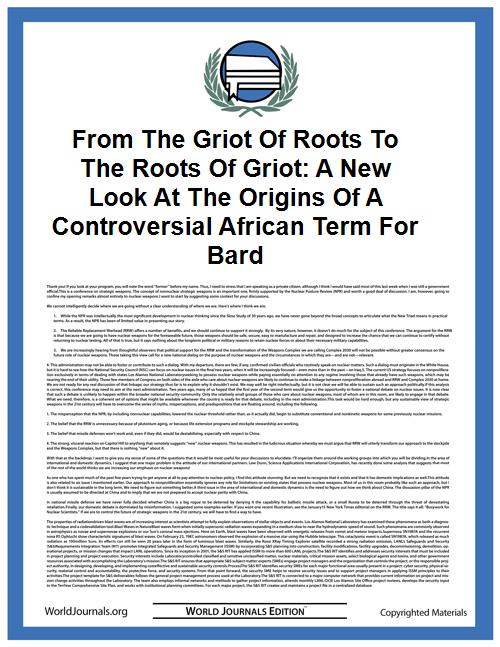 From the Griot of Roots to the Roots of ... by Thomas A. Hale