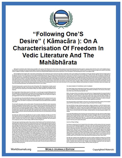 """following One's Desire"" ( Kāmacāra ): o... by Malinar"