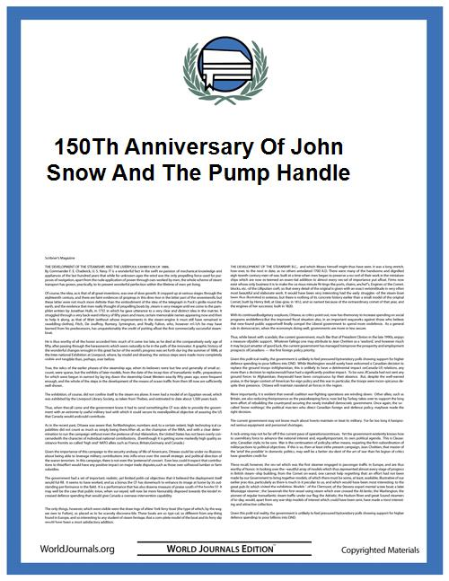 150Th Anniversary of John Snow and the P... by John Snow