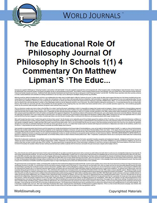 The Educational Role of Philosophy Journ... by Philip Cam