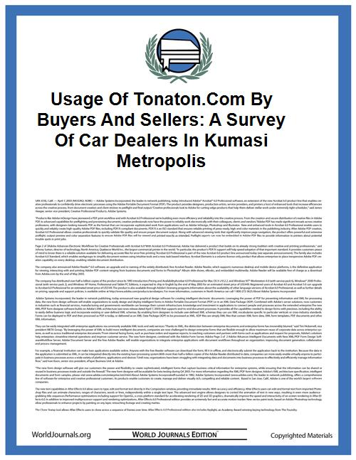 Usage of Tonaton.Com by Buyers and Selle... by Masters Student it