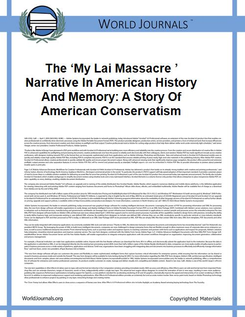 The 'my Lai Massacre ' Narrative in Amer... by Eric Stewart