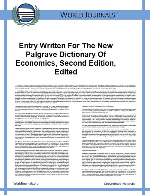 Entry Written for the New Palgrave Dicti... by L. Blume