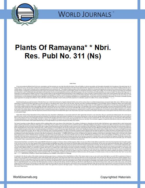Plants of Ramayana* * Nbri. Res. Publ No... by K. M. Balapure