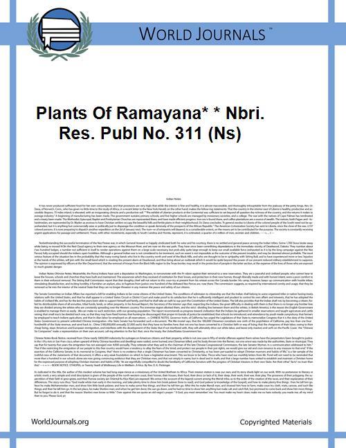 Plants of Ramayana* * Nbri. Res. Publ No... by K. M. Balapure