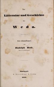 Zur Litteratur Und Geschichte Des Weda by Roth, Rudolf, 1821-1895